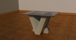 V Side table base 400mm x 300mm x 400mm glass top 600mm x 500mm x 4mm £290