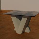 V Side table base 400mm x 300mm x 400mm glass top 600mm x 500mm x 4mm £290