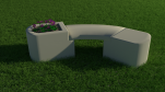Flower pot bench (curved top)