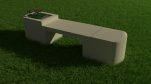 Flowerpot bench (straight sandstone top)